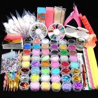48pcs ongles en acrylique Glitter Set pour manucure Kit Gel décoration Faux Gel Polish Tip Brush Tool Set