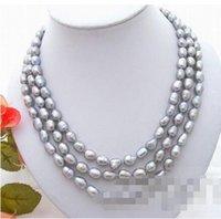 gros 3Strds 11mm Collier gris perle baroque bijoux de mariée