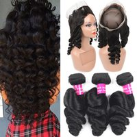 9A Loose Wave Brazilian Hair Bundles With 360 Full Lace Clos...