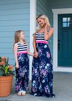 اللباس الأسرة الأم والابنة مطابقة أمي أطفال بنات وتتسابق ملابس فساتين