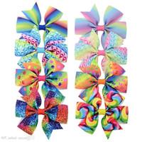 8 Styles 3,5 pouces Licorn Seaker Bow avec PonyRtail Titulaire Ruban Coiffure à cheveux avec Clip Tissu Cheerleading Bows Fille Accessoires pour cheveux