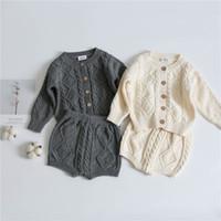 Ins дети мальчики девушки свитера ткани наборы наклонные кнопки с длинным рукавом Cardegans ремешки шорты 2 шт.