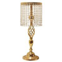 Rhinestone Şamdan Kristal Şamdan Mumluk Masa Merkezinde Vazo Ev Düğün Dekorasyon Altın Renk Standı Vazo