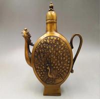 Antique antigo bronze antigo phoenix jarro Magpie Deng Mei Shuangxi bule decoração casa ornamentos de jóias por atacado