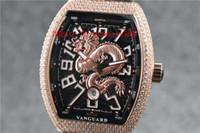 جديد الطليعة يخوت V45 الرجال ووتش الماس ووتش السويسري التلقائية الميكانيكية 28800 VPH الياقوت كريستال لونج الهاتفي روز الذهب الصلب 316L