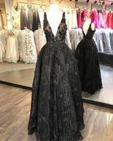 2020 새로운 3D 플로랄 아플리케 이브닝 가운 레이스 섹시 V 넥 댄스 파티 드레스 비드 플러스 크기 작은 검은 공식적인 드레스 1493