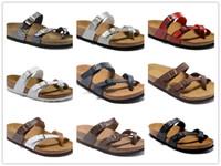 Горячие продажи известный бренд Аризона мужские плоские сандалии Повседневная обувь мужская пряжка пляж лето высокое качество натуральная кожа тапочки Женская обувь