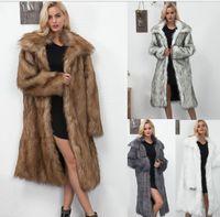 T0832 패션 스퀘어 칼라 긴 가짜 모피 여성 자켓 여성 가을과 겨울 새로운 긴 코트 코트 여성