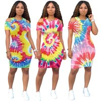 Kadın yaz mini elbiseler bohemian moda kapalı omuz kısa kollu ekip boyun kılıf sütun üzerinde sümük baskı diz sumer giyim artı boyutu 799