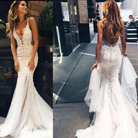 2019 Pallas Couture Cheap Plus Size Boho Mermaid Abiti da sposa Abiti da sposa Deep V Neck Backless Custom Made