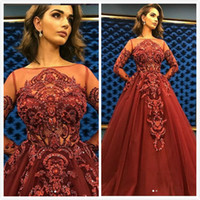 Burgundy Lace Sexy Arabic 2019 Evening Dresses Sheer Neck Lo...