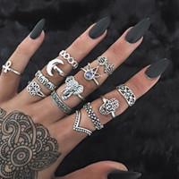 Anillos surtidos antiguos Conjunto de anillo de dedo de dedo del pie del puño apilable declaración conjunta de plata antigua por encima de nudillo