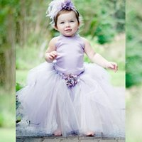 2020 pequeno bebê criança flor menina vestidos de lavanda cetim halter tulle vestidos de baile menina pageant vestidos de festa de aniversário vestido