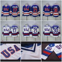 Mens 17 Jack O'Callahan 1980 Olympic Team USA Hockey Jersey 21 Mike Eruzione 30 Jim Craig USA Miracolo Nella alternativo annata Jersey