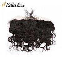 Vücut Dalga Kulak Kulak Dantel Frontal Hint İnsan Saç Uzantıları 13 * 4 Kapanışı Bella Ürünler
