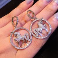 Persönlichkeit Vintage Modeschmuck 925 Sterling Silber Weiß Saphir-Einhorn-Tropfen-Ohrring-Partei-Frauen Hochzeit baumeln Ohrringe für Liebhaber