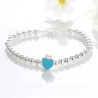 Mode-Humorcat Elegante Liebe Herz Anhänger 925 Silber Perlen Kette Armbänder Für Frauen Mädchen Zierliche Armband Femme Modeschmuck Geschenk