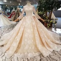 Lace Queens Wedding Dresses Champagne Elegant High Neck Crys...