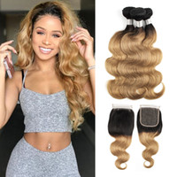 8A Ombre Blonde Body Wave Hair Bundles with Closure T 1B 27 ...