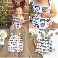 Fashions Baby Boys Girls Animals Printing Striped Belt Rompe...