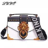 Designer- Fashion Metal Lion Head Mini Small Flap Shoulder C...