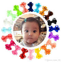 2 Inç Bebek Yay Tokalar Küçük Mini Grogren Kurdele Yaylar Saç Sapları Çocuk Kız Katı Saç Klipler Çocuk Saç Aksesuarları 20 Renkler C4992