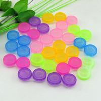 100 adet / grup Renkli Durumda Kontakt Lensler Kutu Kontakt Lens çantası Gözlük Renk Çift Kutu Kontakt Lens çantası Gözlük Aksesuarları