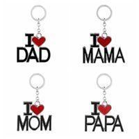 아버지 어머니의 날 선물 파티 영어 편지 키 체인 I 사랑 아빠 엄마 엄마 아빠 금속 열쇠 고리 가족 열쇠 고리는 GGA2711 호의