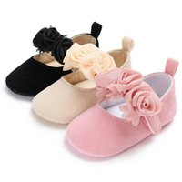 Принцесса Детская обувь новорожденный детская коляска Мэри Джейн девушки Принцесса мокасины обувь мягкий цветочный малыш первые ходунки+повязки 2 шт.
