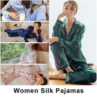 여성 새틴 잠옷 봄 가을 홈 긴 소매 잠옷 소프트 Elegent 홈 의류 세트