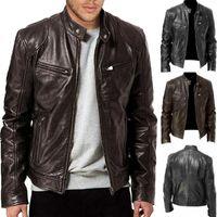 Herren Lederjacke Schwarz Braun New Retro dünnes Motorrad Fashion Design Jacke Solid Color Langarm