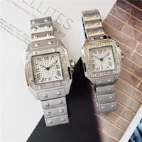 패션 브랜드 시계 남성과 여성 아이스 다이아몬드 시계 석영 운동 드레스 시계 고품질 deisgner 시계
