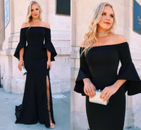 Off Shoulder Mermaid Evening Dresses 2020 Long Sleeves Side ...
