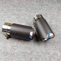 Atacado 1 pcs carro m logotipo tubos de escape lustroso carbono + dicas de aço inoxidável para VW AUDI BENZ BMW Porsche Muffler End Tube