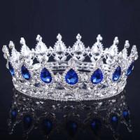 Copricapo da sposa in oro vintage Corona da sposa Lega da sposa Barocco Queen King Crown Diadema con strass color oro e corona Economico