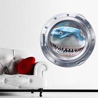 43x43cm tiburones en submarino paisaje marino del arte decoración del hogar de pared de vinilo pegatinas auto-adhesivo Adhesivos dormitorios mural de la pared Adhesivos para el cabrito