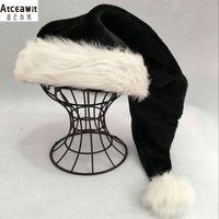 75 centímetros preto chapéu de pelúcia partido chapéu branco pele Adulto Natal Cap Xmas alta qualidade crianças da pele Adulto Plush partido Home Decoração