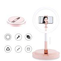 chão de pé telemóvel preenchimento vivo anel de luz LED suporte integrado lâmpada maquiagem única câmera dobrável selfie DHL livre