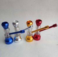 Mini Clakah Glass Peoplass Трубы табаки Курение курение сигареты металлические Рука Вода Сухой Трубопроводный фильтр 5 Цвет экран Shisha Инструменты аксессуары