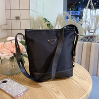Newest classic waterproof handbags purse Nylon real leather joint bucket bag portable wearproof single shoulder crossbody bags