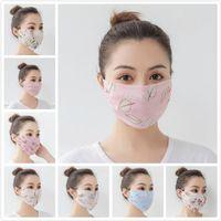 US STOCK Summer Women Scarf Face Mask 27 Styles Silk Chiffon Handkerchief Outdoor Windproof Half Face Dust-proof Sunshade Masks