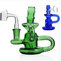 Зеленый синий маленький бонги мини-мазок стекло водопроводная труба бонг переработчик нефти буровой барботер кальян пьяные установки