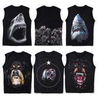 Мужская футболка без рукавов летней моды акулы Печать Стилист рукавов высокого качества Мужчины Женщины Hip Hop Тис Размер S-2XL