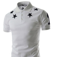Fashion-Men 's Silm Fit 2018 Summer New Five -Pointed Star Print Men' s Fashion Cotton Camisetas de manga corta Polo Camisa Más tamaño M -2xl