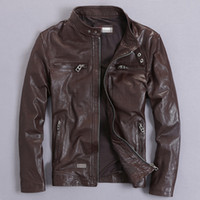 YOLANFAIRY Genuine Leather Jacket Men Real GoatSkin Leather ...