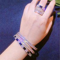 Regalo di nuovo scintillante insieme dei monili di alta qualità Fill 925 silvergold T principessa braccialetto bianco 3A cubico zircone partito delle donne Wedding Ring