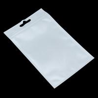 Branco / Clear Auto Seal Zipper Embalagens plásticas Pouch saco fechado zip lock saco de armazenamento pacote de varejo Com Asa Buraco