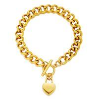 Fashion Gold Argent Couleur en acier inoxydable Chaîne Chunky Ot Boucle Blank Heart Charms Bracelet pour femme Bijoux Basculer Bracelet pendentif coeur