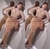 Luxo pérolas frisadas sereia vestidos de noite de sereia 2020 elegantes mangas compridas vestidos de noite árabe alta split vestido vestido robe de soiree