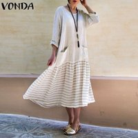 Vonda 2019 Bohemian Women Vintage Long Dress Casual Long Arm...